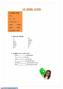 Interactive worksheet Le verbe Avoir