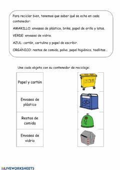 Interactive worksheet Reciclaje