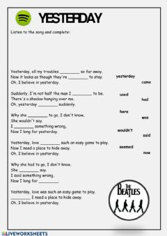 Interactive worksheet Yesterday Song