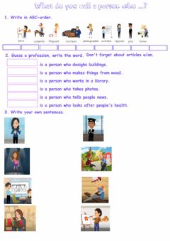 Interactive worksheet Jobs: the person who...
