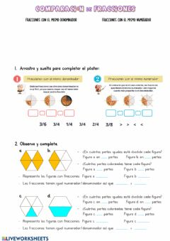 Interactive worksheet Comparación de fracciones.