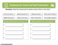 Interactive worksheet Employee Evaluation