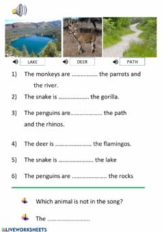 Ficha interactiva Song comprehension, prepositions place, animals
