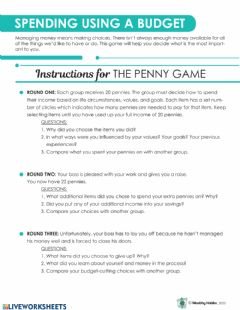 Interactive worksheet Wealthy Habits Penny Game Instructions