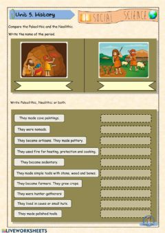 Interactive worksheet Paleolithic vs. Neolithic
