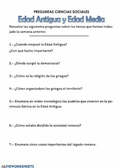 Interactive worksheet Cuestionario Edad Antigua y Media