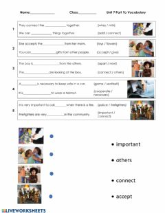 Interactive worksheet Vocabulary Unit 7 Part 1b