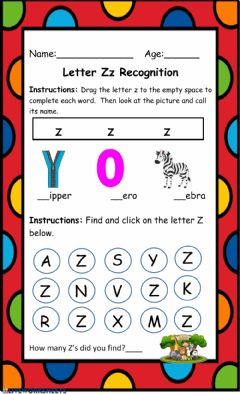 Interactive worksheet Letter Z Recognition