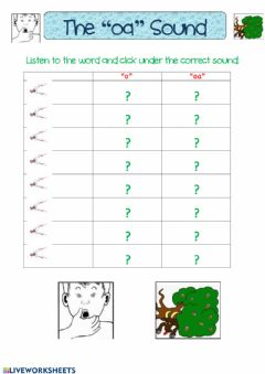 Interactive worksheet The -oa- Sound