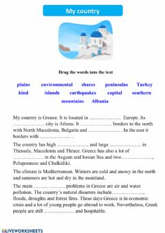 Interactive worksheet My country