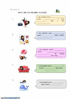 Interactive worksheet Writing: What are you wearing, teacher?