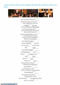 Interactive worksheet The Sorting Hat's Song