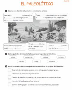 Interactive worksheet Paleolitico