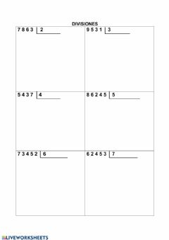 Interactive worksheet Divisiones