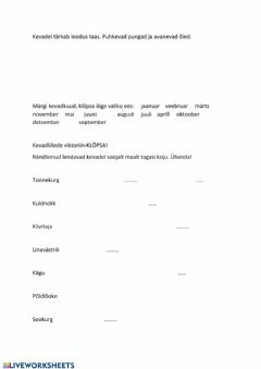 Interactive worksheet KEVAD