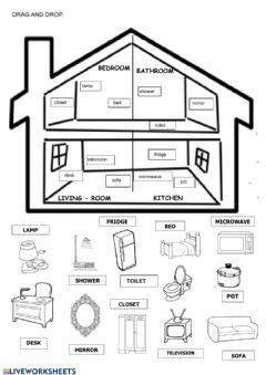 Interactive worksheet PARTS OF THE HOUSE AND OBJECTS