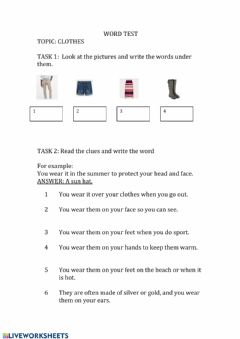 Interactive worksheet Test words for clothes