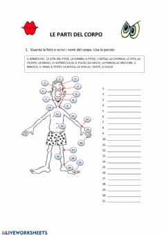Interactive worksheet Le parti del corpo
