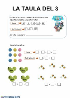 Interactive worksheet La taula del 3