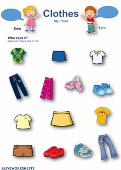 Interactive worksheet Clothes - my-your