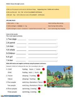 Interactive worksheet Present continuous.Positive and negative