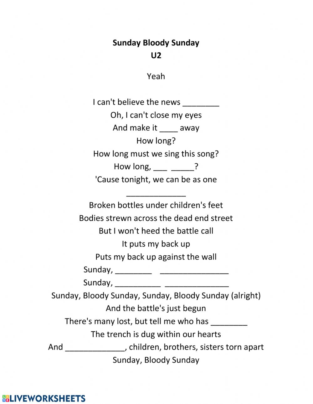 Sunday Bloody Sunday U2 Worksheet