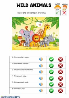 Ficha interactiva Wild animals