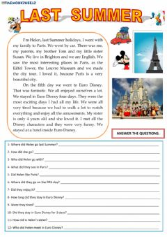 Interactive worksheet Reading Past Simple