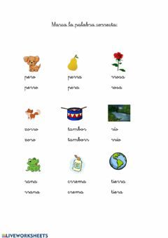 Interactive worksheet Palabras r rr