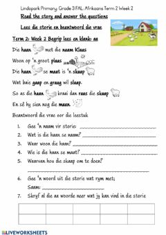 Ficha interactiva Grade 3: FAL Afrikaans: Term 2 Week 2 Worksheet 1: klank aa