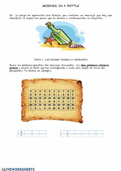 Interactive worksheet MESSAGE IN A BOTTLE