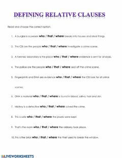 Interactive worksheet Defining Relative Clauses