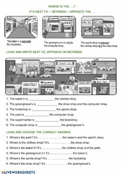 Interactive worksheet Shops-prepositions of place