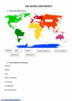 Interactive worksheet The seven continents