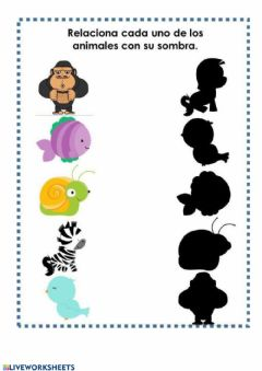 Interactive worksheet Relacionar cada animal con su sombra