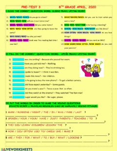 Interactive worksheet Wh and YES-NO questions MIXED TENSES