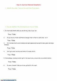 Interactive worksheet How to Survive Natural Disasters.