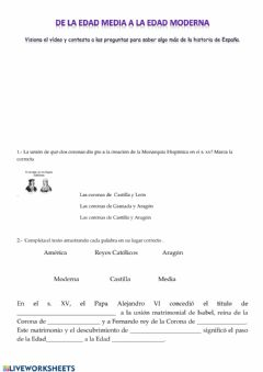 Interactive worksheet De la Edad Media a la Edad Moderna