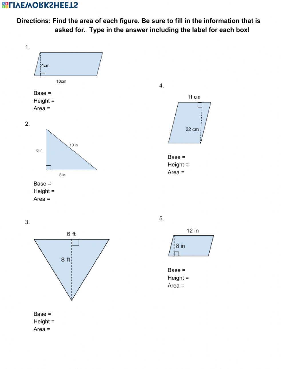 area of parallelograms and triangles worksheet pdf Throughout Area Of Rhombus Worksheet