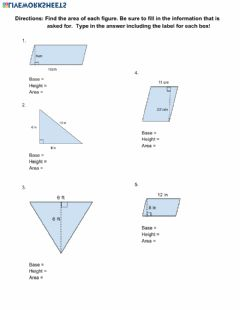 Interactive worksheet Area of Parallelograms and Triangles