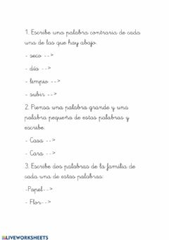 Interactive worksheet Tipos de palabra