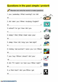 Interactive worksheet Questions in the past simple