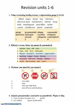 Interactive worksheet Revision units 1-6 Steps Plus 6