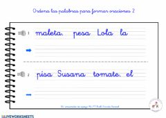 Interactive worksheet Ordena palabras 2
