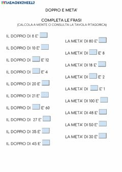 Interactive worksheet Doppio e meta'