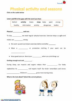 Interactive worksheet Physical Activity and seasons
