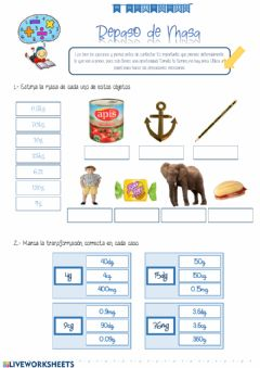 Interactive worksheet Unidades de Masa