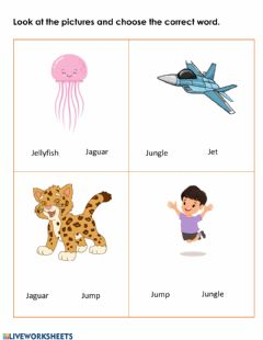 Interactive worksheet Letter J