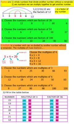 Ficha interactiva Factors and Multiples
