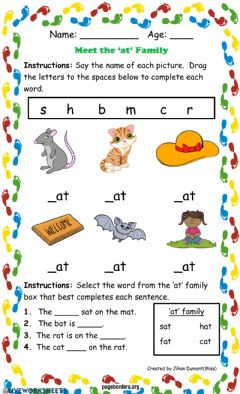 Interactive worksheet Meet the 'at' Family